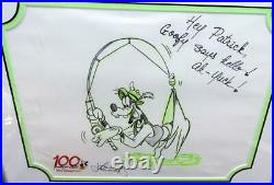100 Year Walt Disneys Signed John Lounsbery Framed Sketch Art Goofy Gone Fishing