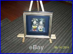 1930s WALT DISNEY MICKEY & MINNIE MOUSE BISQUE FIGURINE -Custom Frame