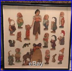 1938 Walt Disney Snow White & 7 Dwarfs Paper Cut Out Dolls Preserved In Frame