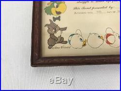 1944 Walt Disney United States Treasury War Finance Committee Framed Certificate