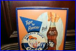 1950s Donald Duck Cola Walt Disney Cardboard Framed Sign Canadian