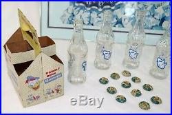1950s Donald Duck Cola Walt Disney Cardboard Framed Sign withbottles and caps