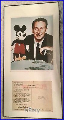 1957 Walt Disney Mickey Mouse Photo And Post Card Framed Display Hand Signed
