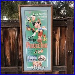 1971 Walt Disney Pinocchio Original Re-release Insert Poster Framed