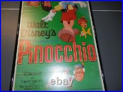 1971 Walt Disney Pinocchio Original Re-release Insert Poster UV Framed
