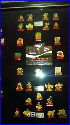 (1986)Coca-Cola Salutes Walt Disney World Happy 15th Birthday 60 Pin Framed Set