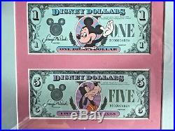 1987 Disney Dollar Mickey Goofy Walt Disney World Matched Set Framed 1st Day Isu