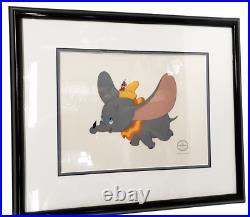 1996 DUMBO Walt Disney Studios FLYING HIGH Sericel Cel Animation Art Framed COA