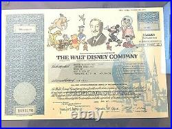 1999 Walt Disney Company 5 Share Stock Certificate Framed