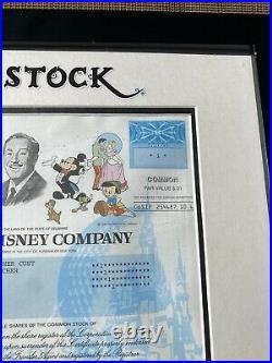 2013 Framed Walt Disney Company Stock Certificate