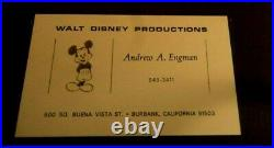 ANDY ENGMAN WALT DISNEY PENCIL DRAWING MICKEY MOUSE SINGED WithCARD FRAMED RARE