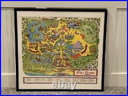 Authentic Framed 1971 Walt Disney World Magic Kingdom Park Souvenir Map
