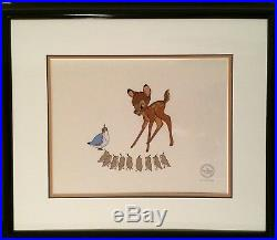Bambi And Quails Serigraph Cel Limited Edition 2500 Walt Disney 1991 Framed COA