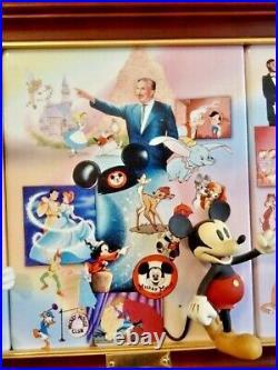Bradford Set of Four 3D Walt Disney's 100-Year Anniversary Plates in Frame