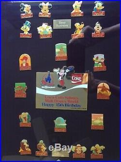 COCA COLA SALUTES WALT DISNEY WORLDHappy 15th Anniversry60 PINSFRAMED SETBOX