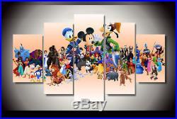 Cartoon characters Disney framed canvas print 5 pieces