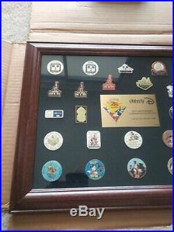 Company D Walt Disney World 25th Anniversary Commemorative Pin Set Framed RARE