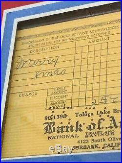 DEC 25 1957 WALT DISNEY SIGNED PERSONAL BANK CHECK PSA/DNA AUTO RARE! Framed