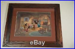 DISNEY Mickeys Christmas Carol cel Mickey Minnie rare edition cell Framed