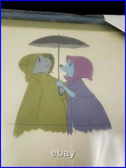Disney 1977 THE RESCUERS Bernard + Bianca Animation Production Cel Movie Cartoon
