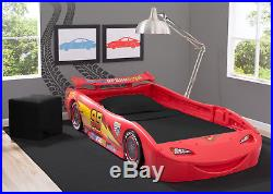 Disney Cars Lightning McQueen Twin Bed with Lights Kids Bedroom Durable Frame