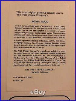 Disney Cel, ROBIN HOOD Cel, SIR HISS AND SKIPPY, 2 Cels In Original Frame, 1973
