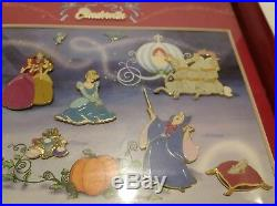 Disney Cinderella LE 500 Framed RARE Pin Set of 12! WOW