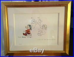 Disney Grumpy Framed Artist's Sketches Vintage From Disneyland Hotel Very Rare