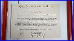 Disney I LOVE YOU Sericel 1994 Mickey and Minnie Mouse Certificate Framed 1