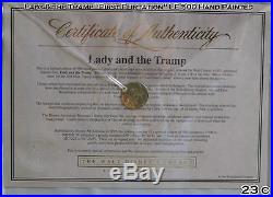 Disney LE 500 Lady & Tramp First Flirtation Hand Painted Cel Set-up Framed 23 YO