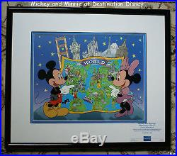 Disney LE 7,500 Destination Mickey & Minnie Sericel Framed from 1998