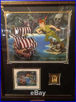 Disney Peter Pan Cel Framed with Signed Card and Pin