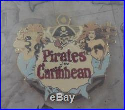 Disney Pin DLR Pirates of the Caribbean Attraction Scene 6 Pin Framed Set New
