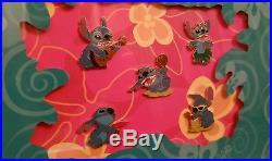 Disney Pin Set Aloha Stitch 5 individual pins+White Wooden Frame