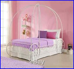 Disney Princess Metal Bed Frame Carriage Kids Girl White Twin Bedroom Cinderella