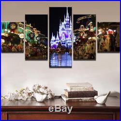 Disney World Magic Kingdom Main Street At Christmas 5 Panel Canvas Print Wall Ar