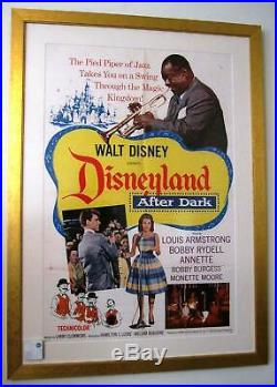 Disneyland After Dark 1962 Framed Orig Movie Poster Louis Armstrong Walt Disney