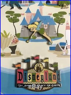 Disneyland Retro 50th Anniversary Map framed 11 pin set