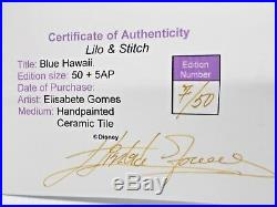 Elisabete Gomes Disney Stitch As Elvis Title Blue Hawaii Framed Tile L. E. C