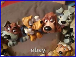 Extremely Rare! Walt Disney Dogs Characters Big Heavy Figurine Frame Statue
