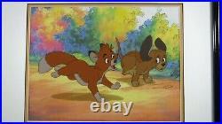 Fox Hound cel Disney Sericel Original Disney Frame COA Upgraded background