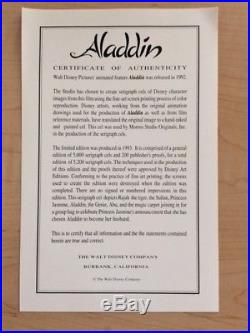 Framed 1993 Disney Aladdin Serigraph Cel Limited Edition (Only 5,000) with COA