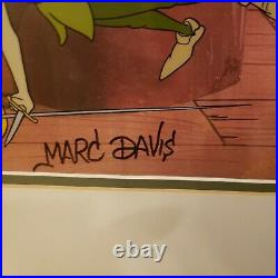 Framed Disney Peter Pan Duels Capt. Hook Disney Cel Sericel signed Marc Davis