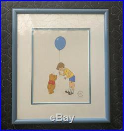 Framed WINNIE THE POOH & CHRISTOPHER ROBIN Ltd Ed Serigraph cel by Walt Disney