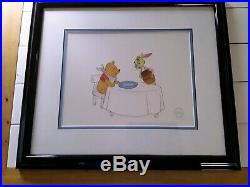 Framed WINNIE THE POOH and RABBIT Limited Ed Serigraph cel by Walt Disney