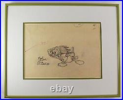 Framed Walt Disney Donald Duck Animation Sketch by Art Babbitt JL2