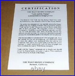 Framed Walt Disney Lady and the Tramp Ltd Edition Sericel withCOA & Background