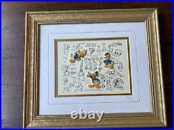 Framed Walt Disney Limited Edition Pin Set Donald Duck Model Sheets #2463/7500