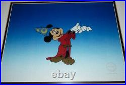 Framed Walt Disney Mickey Mouse Fantasia Sericel Ltd Edition withCOA & Background