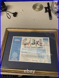 Framed walt disney stock certificate